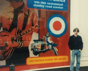 Disco Dez outside the rather fantastic Weller advert in the window of Virgin Megastore on Regent St