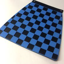Italian chequered mudflap Blue & Black