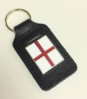 St George's Cross enamel badge leather key fob ring  image #1