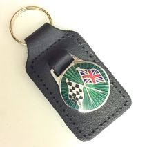 Racing chequered Union Jack flag green enamel badge leather key fob ring