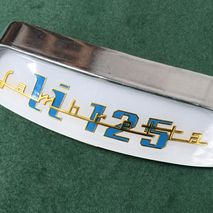Lambretta curved rear frame badge and holder for LI 125