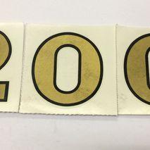 """Gold """"200"""" Decorette reproduction stickers 2"""" (50 mm)"""