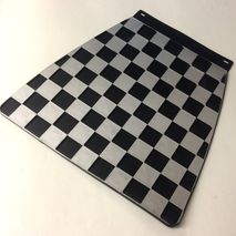 Italian chequered mudflap Silver & Black