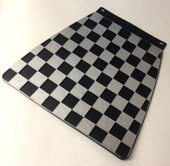 Italian chequered mudflap Silver & Black  image #1