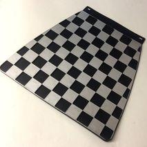 Italian chequered mudflap Silver & Black
