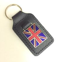Union Jack Flag enamel badge leather key fob ring