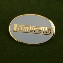 Lambretta oval enamel lapel pin badge pale blue.