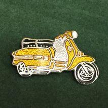 Lambretta GP cut out enamel lapel pin badge yellow ochre