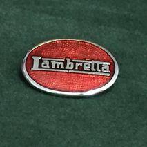 Lambretta oval enamel lapel pin badge Red