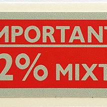 Vespa 2% Oil Mixture Red Fuel Cap Sticker